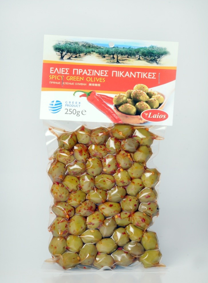 Spicy Green Olives vacuum 250 gr