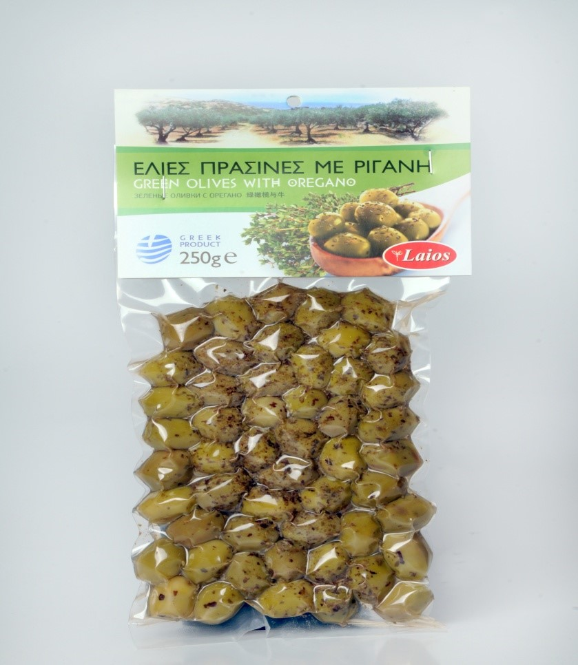 Green olives with oregano vacuum 250 gr